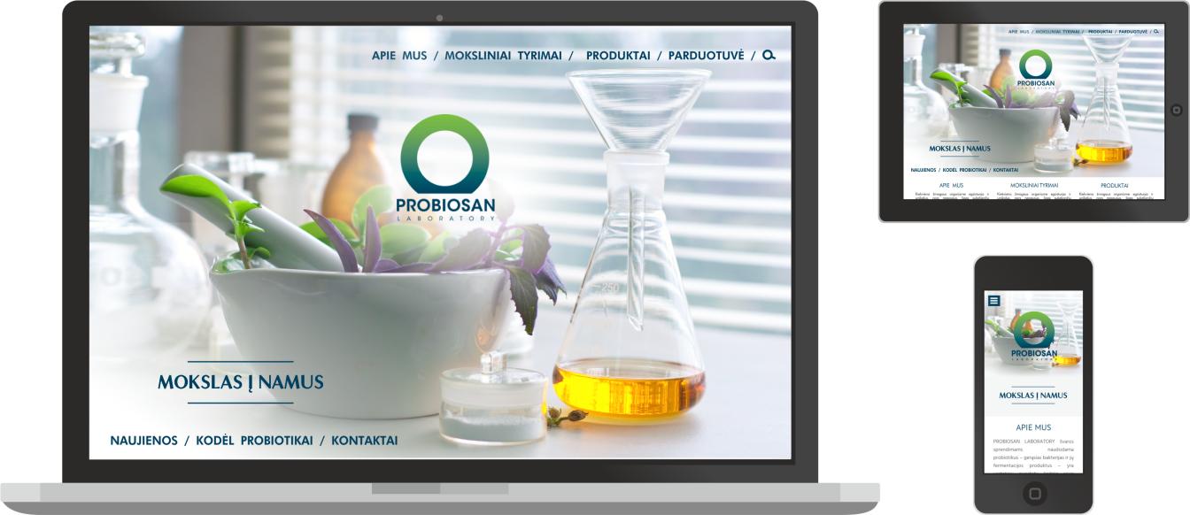 web dizainas, internetinių svetainių kūrimas, probiosanus