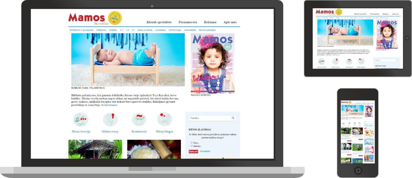 Mamos-žurnalas, web dizainas