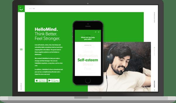 greenery spalva, HelloMind svetaines pavyzdys