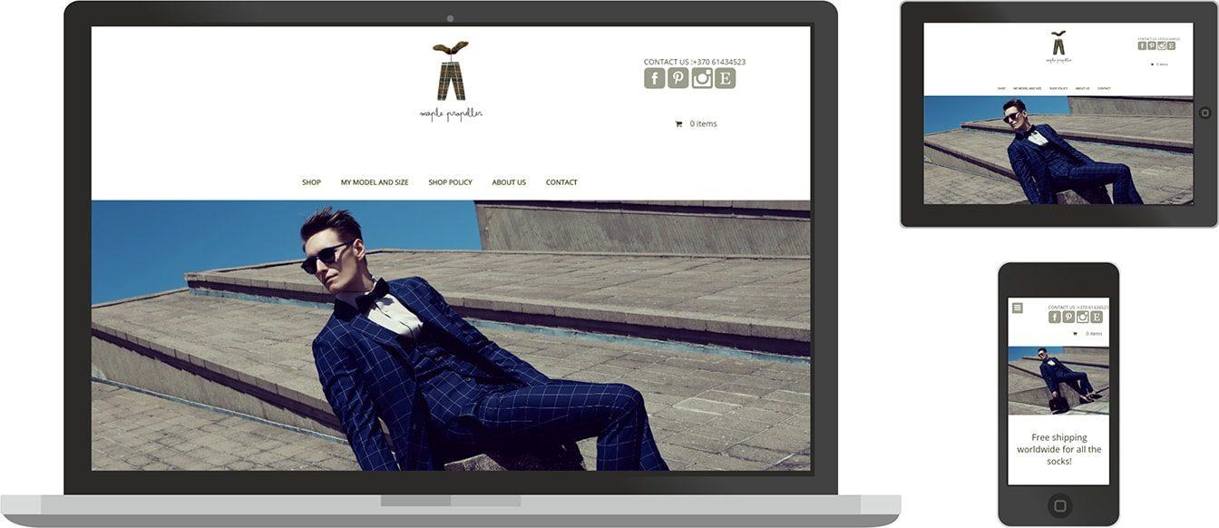 Maple Propeller internetines svetaines dizainas, pritaikytas skirtingiems ekranams