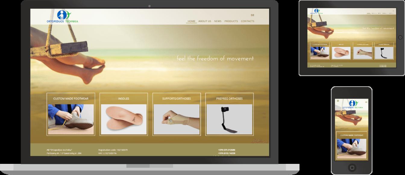 Ortopedija.lt svetaine skirtingu dydziu ekranuose