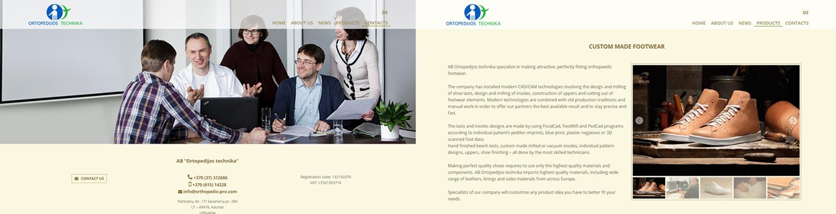 Ortopedija.lt puslapio dizainas, kuri sukure foxiAD