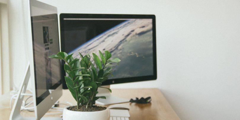 Erdvi ir sviesi darbo patalpa, kompiuterio ekranai su vaizdu